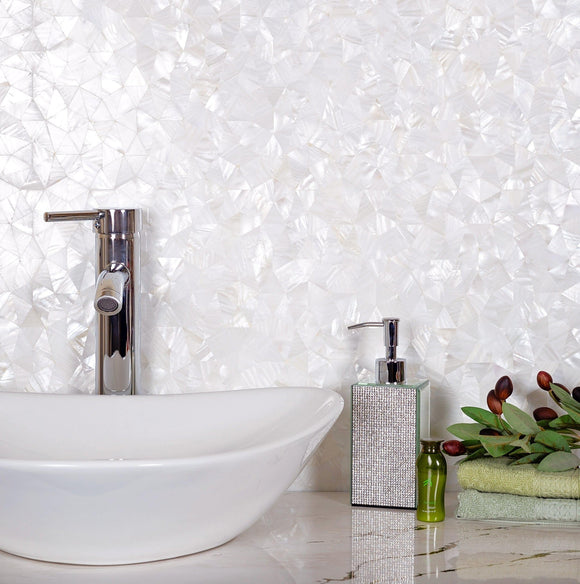 Pure White Illusion Mother Of Pearl Mosaic Tile for a Glamorous Bathroom Design