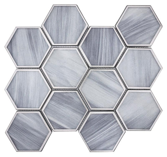 Opal Marbled Glass Hexagon Mosaic Tile