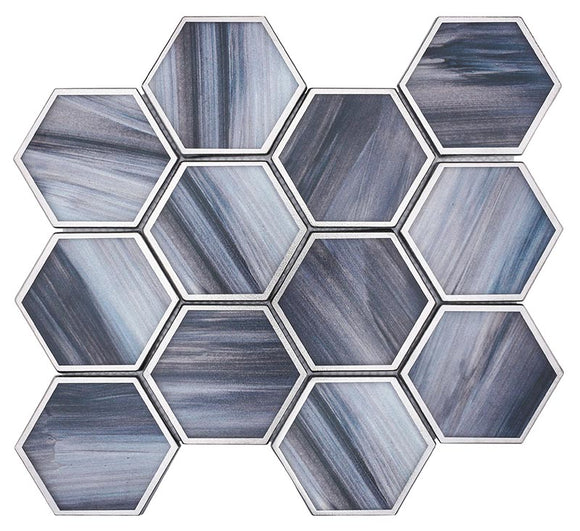 Sapphire Marbled Glass Hexagon Mosaic Tile
