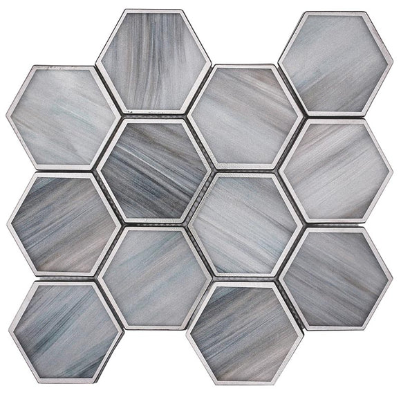 Moonstone Marbled Glass Hexagon Mosaic Tile
