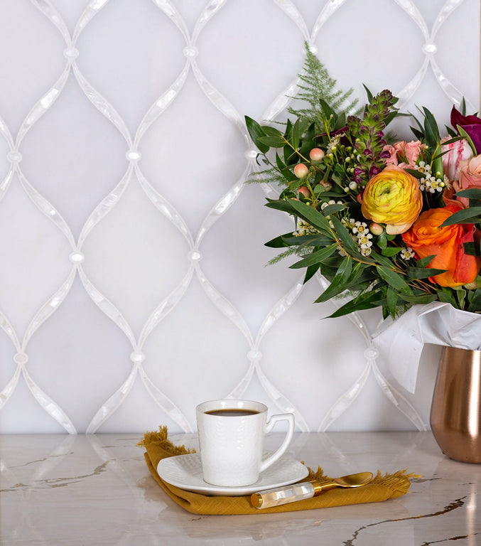 marble and pearl tile for kitchen