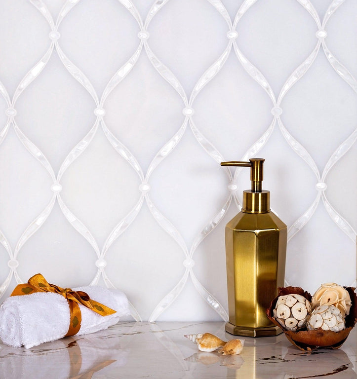 Pearl Chic White Marble & Mother Of Pearl Waterjet Mosaic Tile|Tile Club