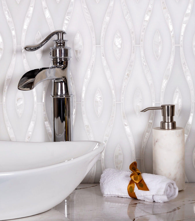 Pearl Wave White Marble & Mother Of Pearl Waterjet Mosaic Tile