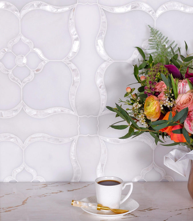 Pearl Flower White Marble & Mother Of Pearl Waterjet Mosaic Tile
