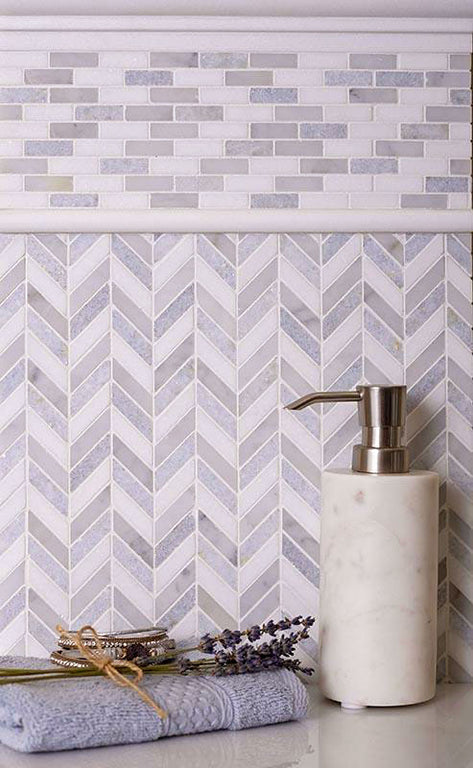 "10.9"" x 12.2"" Thassos Carrara And Azul Cielo Mini Chevron Marble Mosaic Tile 2"