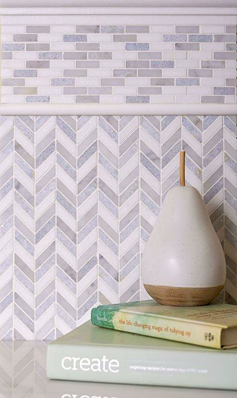 Thassos Carrara And Azul Cielo Mini Chevron Marble Mosaic Tile