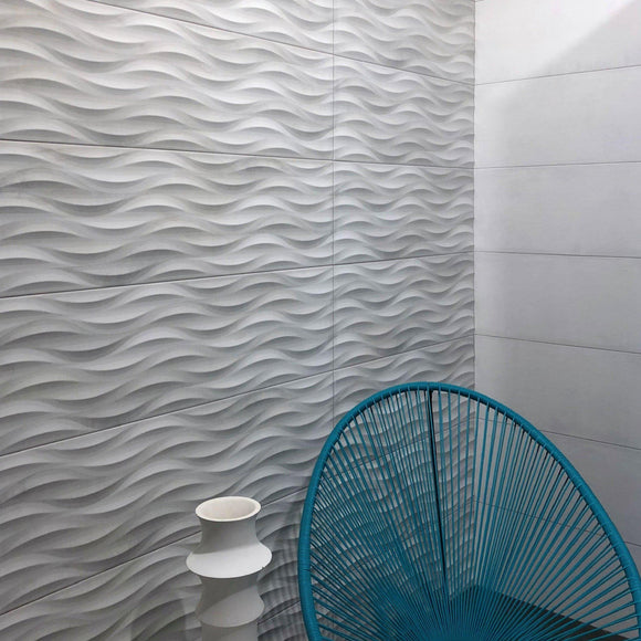 Tile Club | Tango Grey Wave Polished White Porcelain Tile Wall