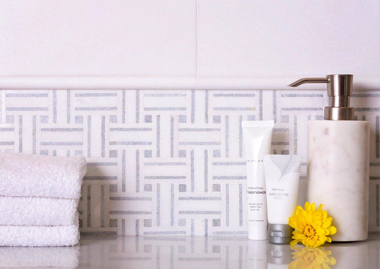 Thassos And Azul Cielo Tight Joint Basket Weave Marble Mosaic Tile