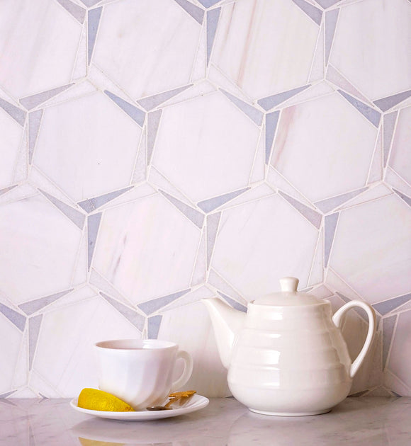Patterned Octagon Tile with Triangular Mosaic Details in White and Blue Marble