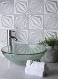 "12"" x 12"" White Striped Diamond Marble Mosaic Tile for Guesthouse"