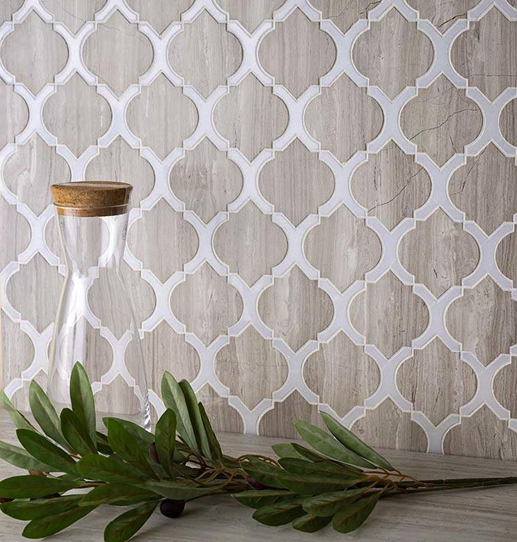 Beige Arabesque Tile With Thassos Lines