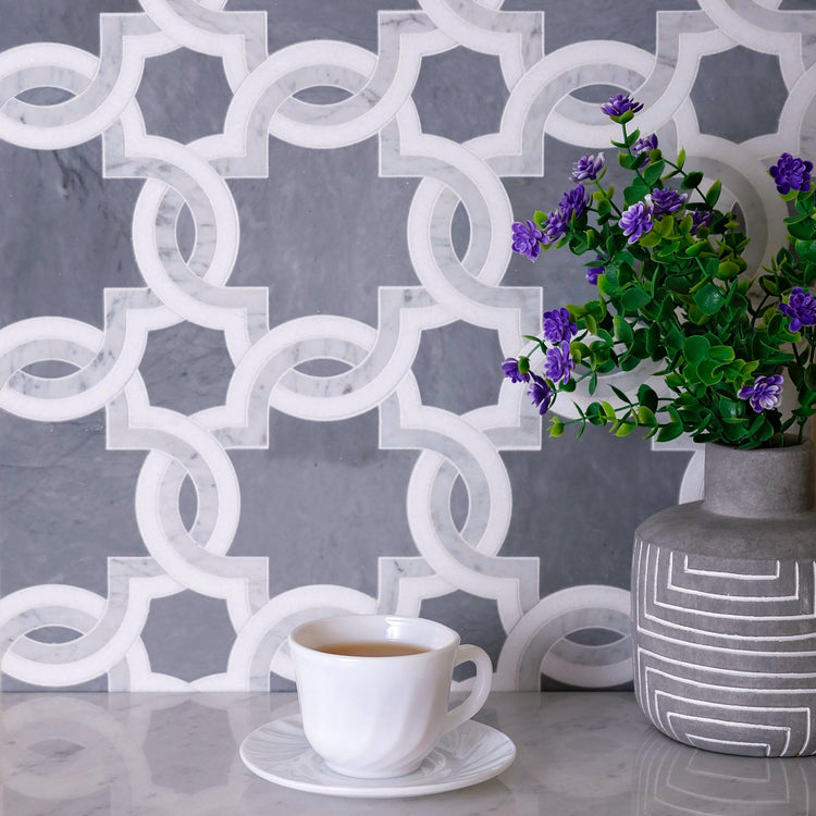 Weaving Flower Carrara & Thassos Marble Mosaic Tile