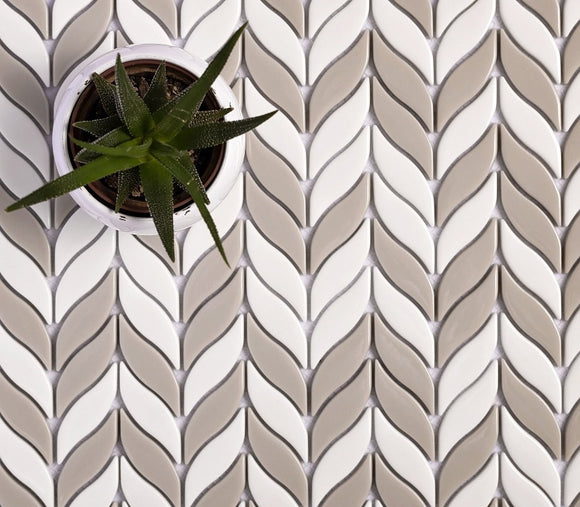 White And Beige Mix Leaf Recycled Glass Mosaic Tile