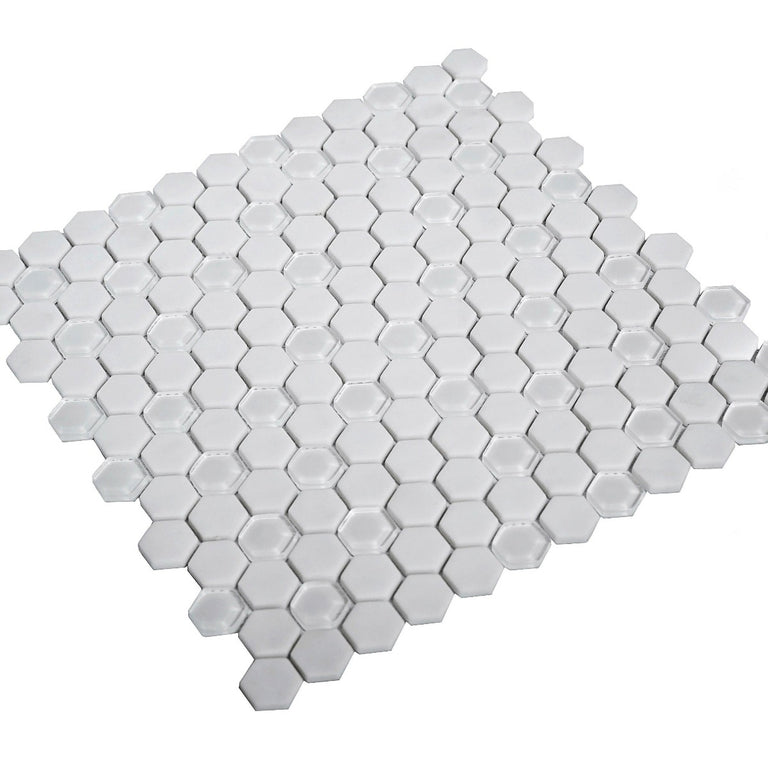 White Recycled Glass Hexagon Mosaic Tile