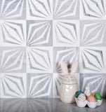 "12"" x 12"" White Striped Diamond Marble Mosaic Tile for decor"