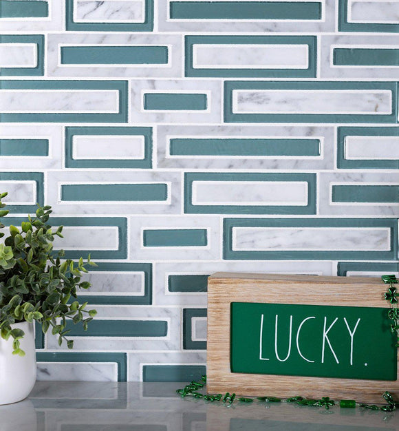 white and green brick tiles