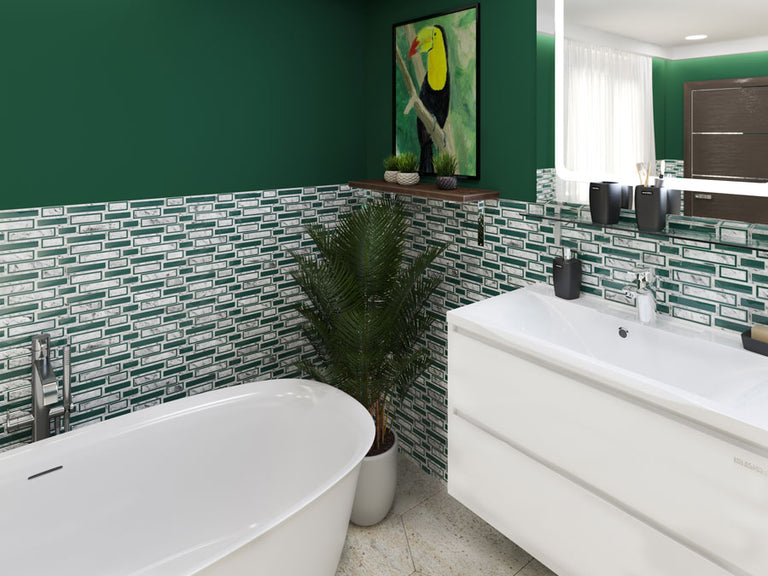 White & Green Bricks Carrara & Glass Mosaic Tile