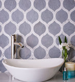 White & Grey Lantern Marble Mosaic Tile Vanity Backsplash
