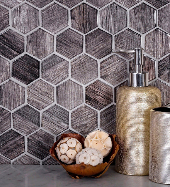 Wooden Glass Hexagon Mosaic Tile