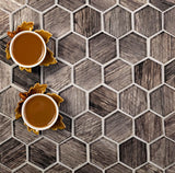 Wooden Glass Hexagon Tile for product photography