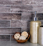 "11.8"" x 11.8"" Wooden Glass Subway Mosaic Tile for bathroom"