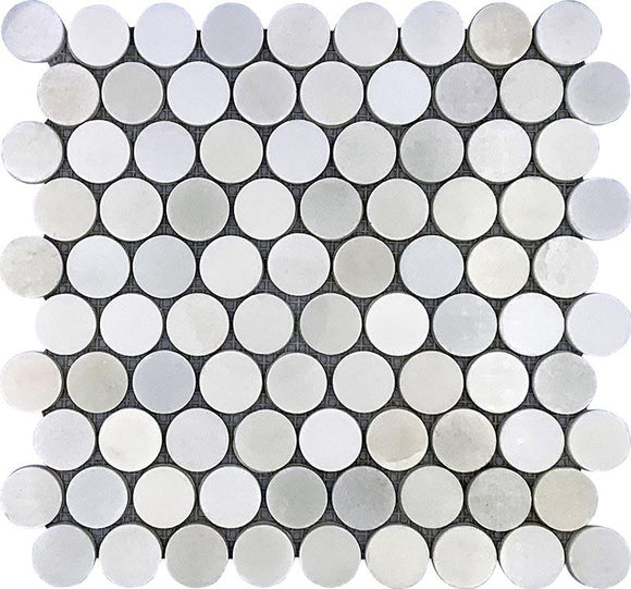 Asian White 1 inch Penny Round Marble Mosaic Polished Tile