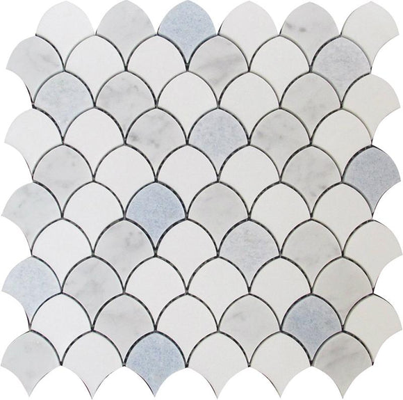 Azul Cielo Thassos And Carrara Mini Scale Marble Mosaic Tile | Position1