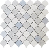 "Azul Cielo Thassos And Carrara Mini Scale Marble Mosaic Tile | 11"" x 11"""