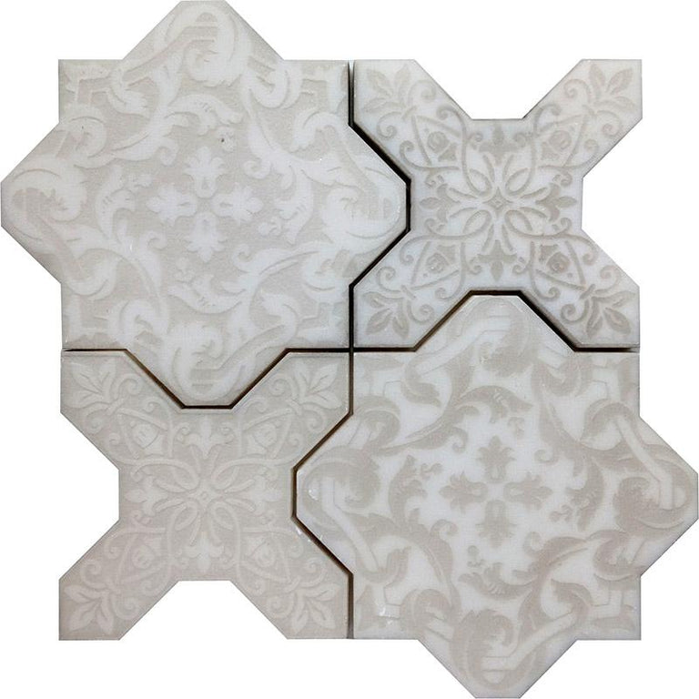 Babylon Antique Star & Cross Etched Marble Mosaic Tile | Position1