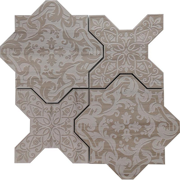 Babylon Grey Star & Cross Etched Marble Mosaic Tile | Position1