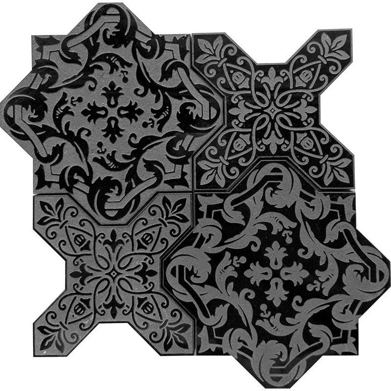 "9.4"" x 9.4"" Babylon Nero Star & Cross Etched Marble Mosaic Tile 