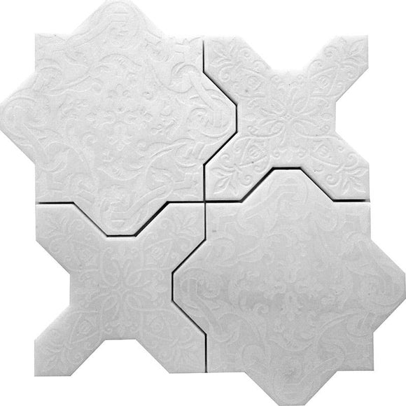 Babylon White Star & Cross Etched Marble Mosaic Tile | Position1