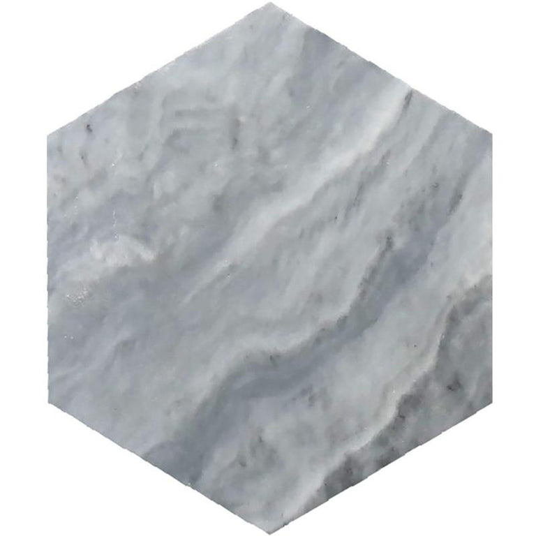 "Bardiglio 10"" Honed Hexagon Marble Tile 