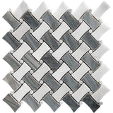 Bardiglio & Oriental White Curved Basket Weave Marble Mosaic Tile | Position1