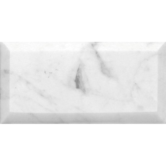 Bianco Carrara 3X6 Beveled Marble Tile | Tile Club | Position1