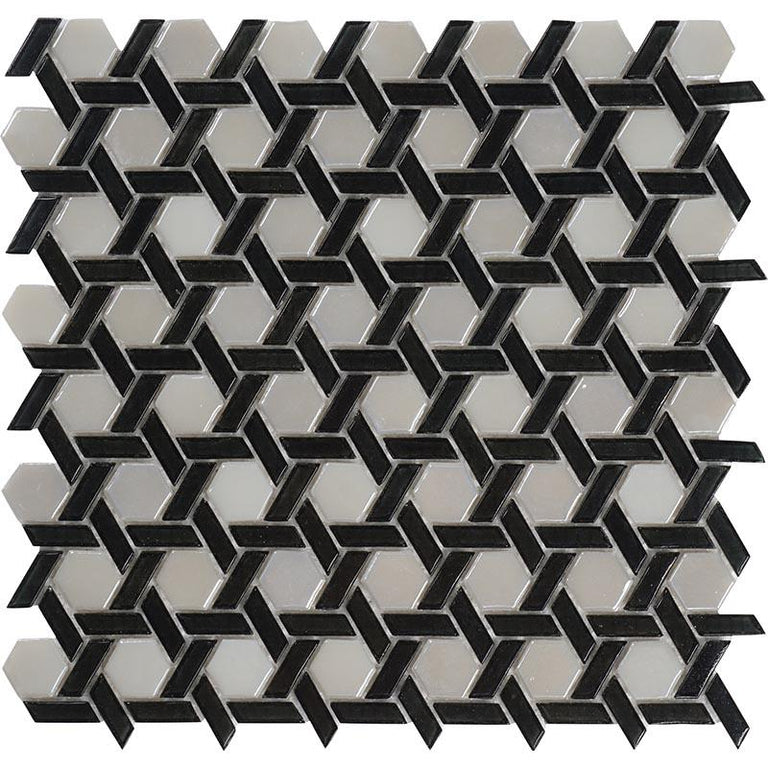 black and white hexagon mosaic tile