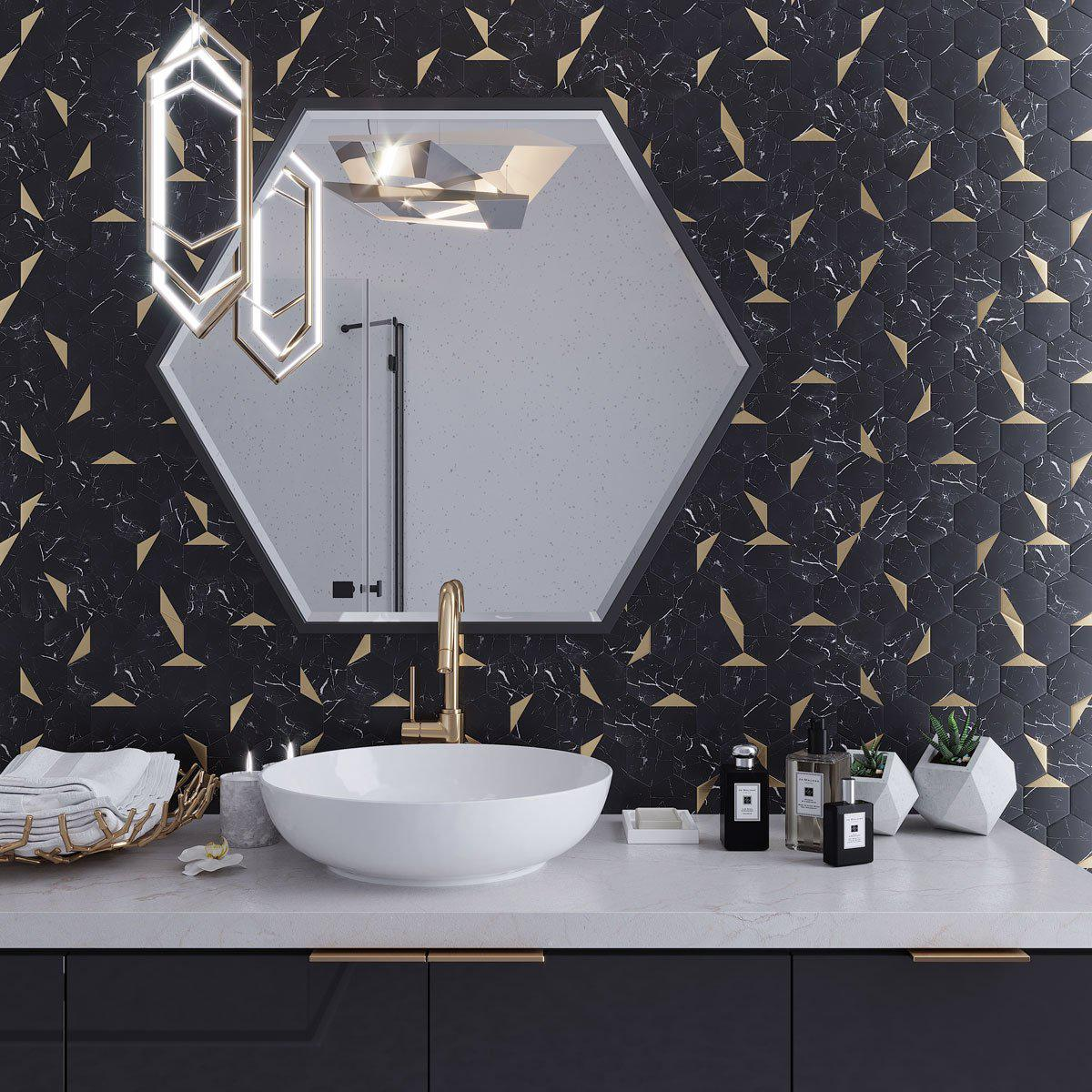 Black And Gold Hexagon Vinyl Peel And Stick Tile Tile Club