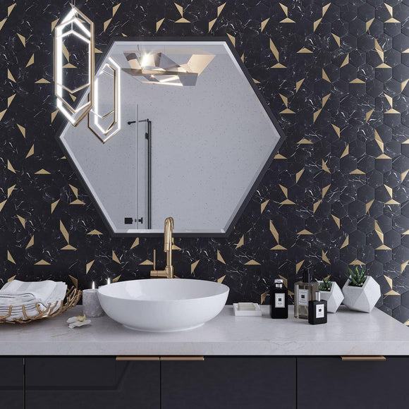 Modern Black and Both Bathroom with Peel and Stick Tile with Marble Patterns