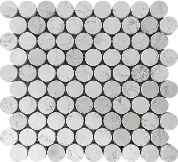 Blanco Perlino 1 inch Penny Round Mosaic