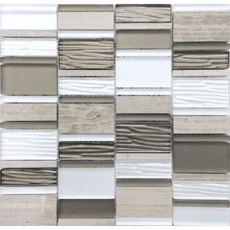 Blocks Woden Beige Marble And Glass Mosaic Tile | Tile Club | Position1