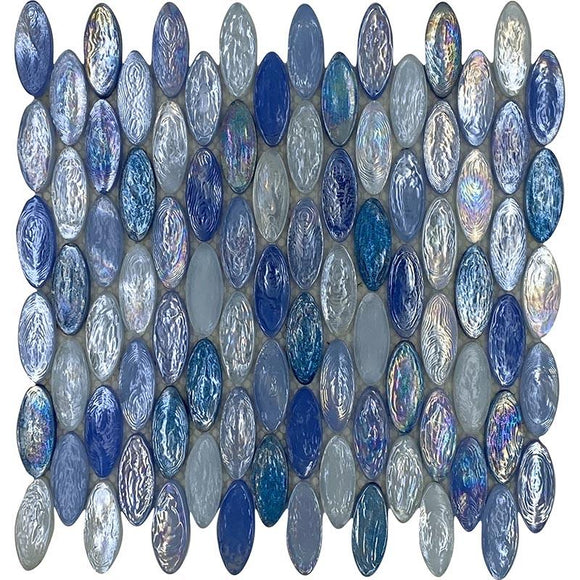 Blue drops oval glass mosaic tile
