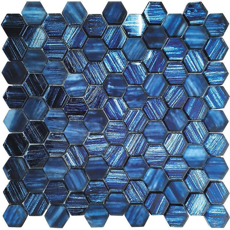 Blue Foil Glossy And Frosted Hexagon Mosaic Tile | Tile Club | blue hex tile