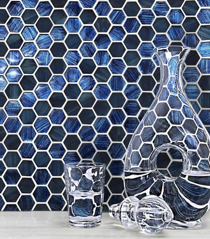 "11.3"" x 11.3"" Blue Foil Glossy And Frosted Hexagon Mosaic Tile"