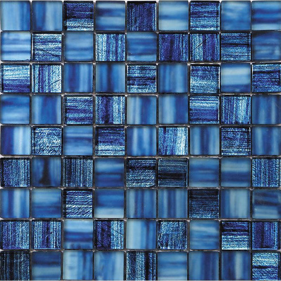 Blue Foil Glossy And Frosted Square Mosaic Tile | Tile Club | Position1