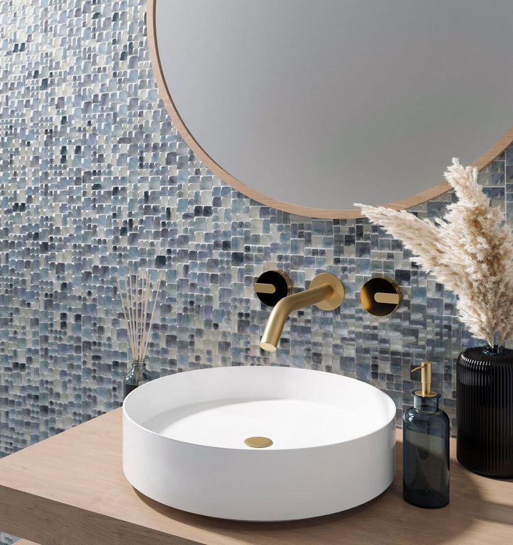 Modern Coastal Blue and Gold Bathroom with Blue Mini Versailles Glass Mosaic Tile and Pampas Grass Decor