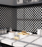 Boulevard Nero Marquina And Carrara Marble Mosaic Tile Black and White Kitchen Backsplash
