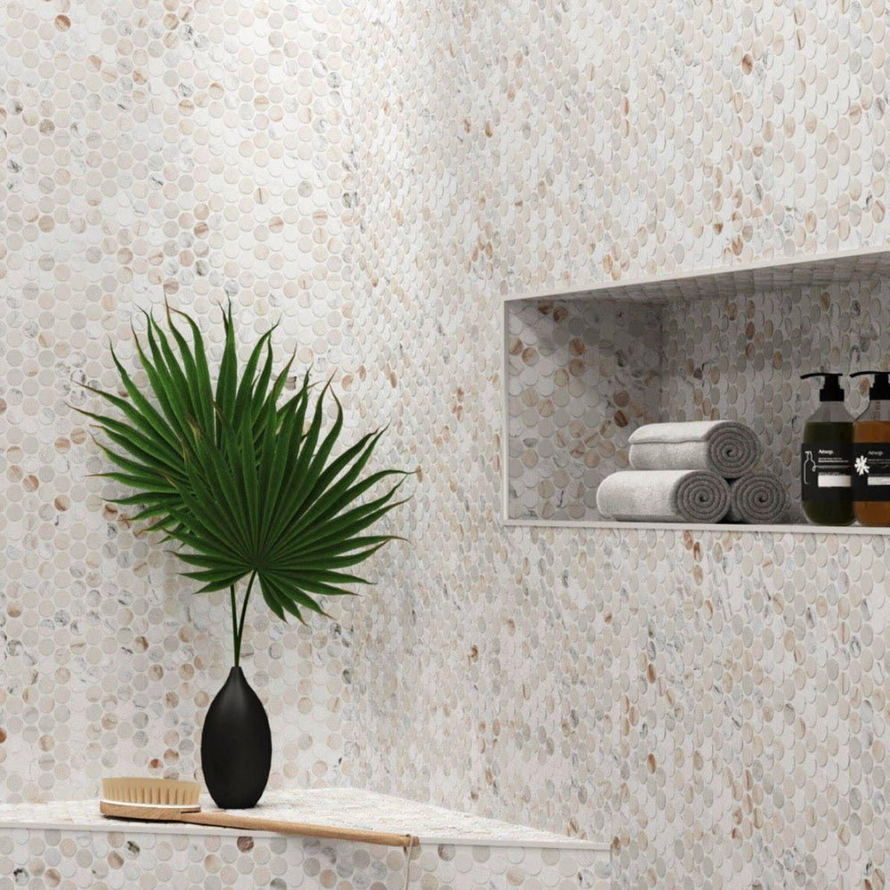 Calacatta Gold Marble Shower with Penny Round Tile