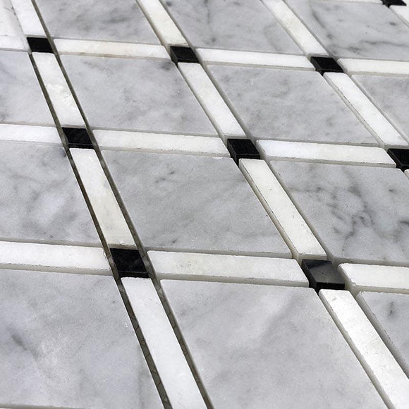 Carrara Diamonds with Imperial White lines and Nero Marquina dots