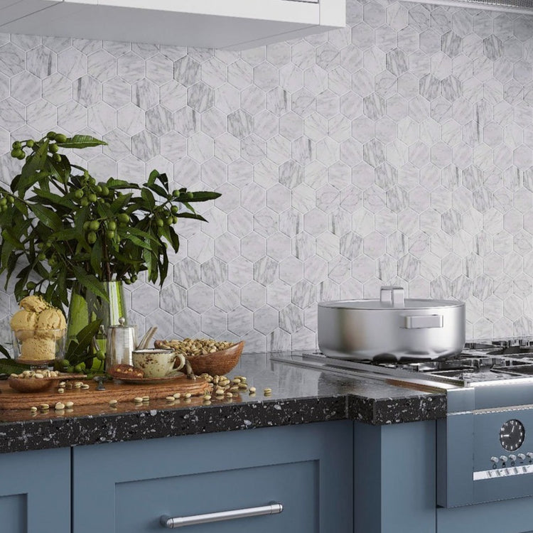Marble hexagon tile peel and stick backsplash