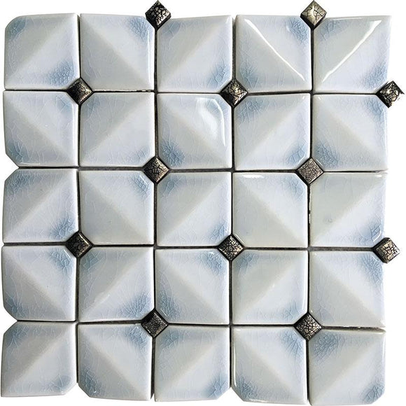 Chateau Blue Square Ceramic Mosaic Tile | Tile Club | Position1